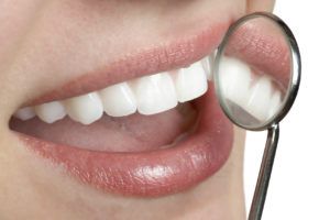 healthy gums in a dental mirror